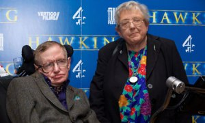 Theoretical physicist Stephen Hawking with his sister Mary at the premiere of the documentary Hawking in Cambridge.